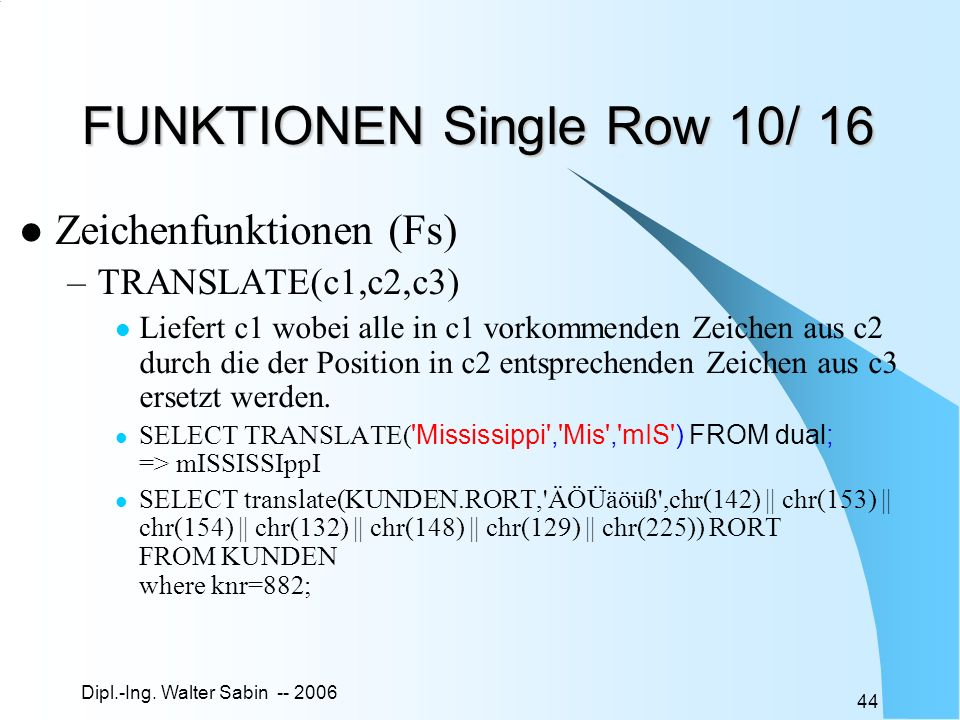 FUNKTIONEN Single Row 10/ 16