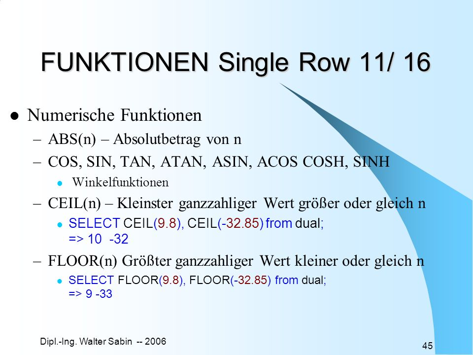 FUNKTIONEN Single Row 11/ 16