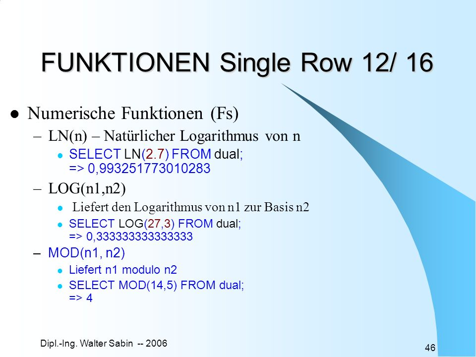 FUNKTIONEN Single Row 12/ 16