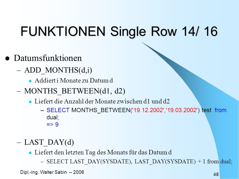 FUNKTIONEN Single Row 14/ 16