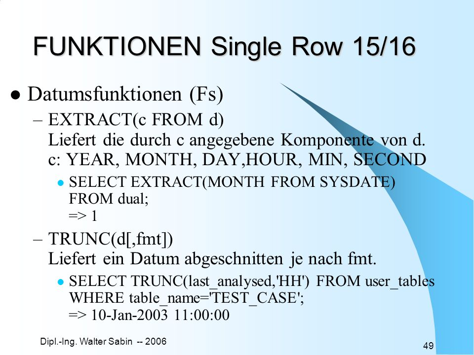 FUNKTIONEN Single Row 15/16