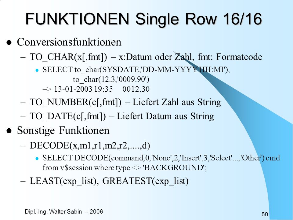 FUNKTIONEN Single Row 16/16