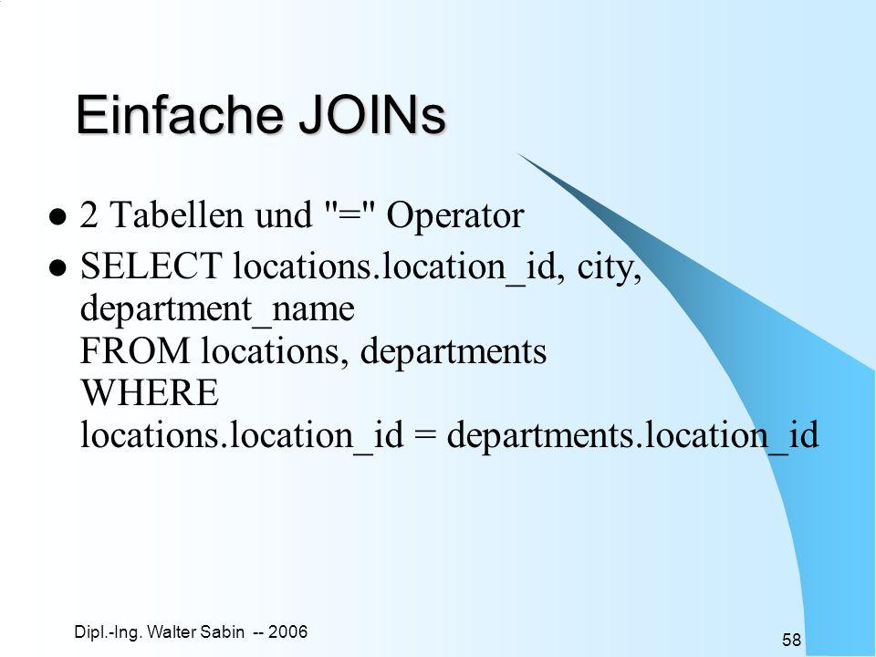 Einfache JOINs 2 Tabellen und = Operator
