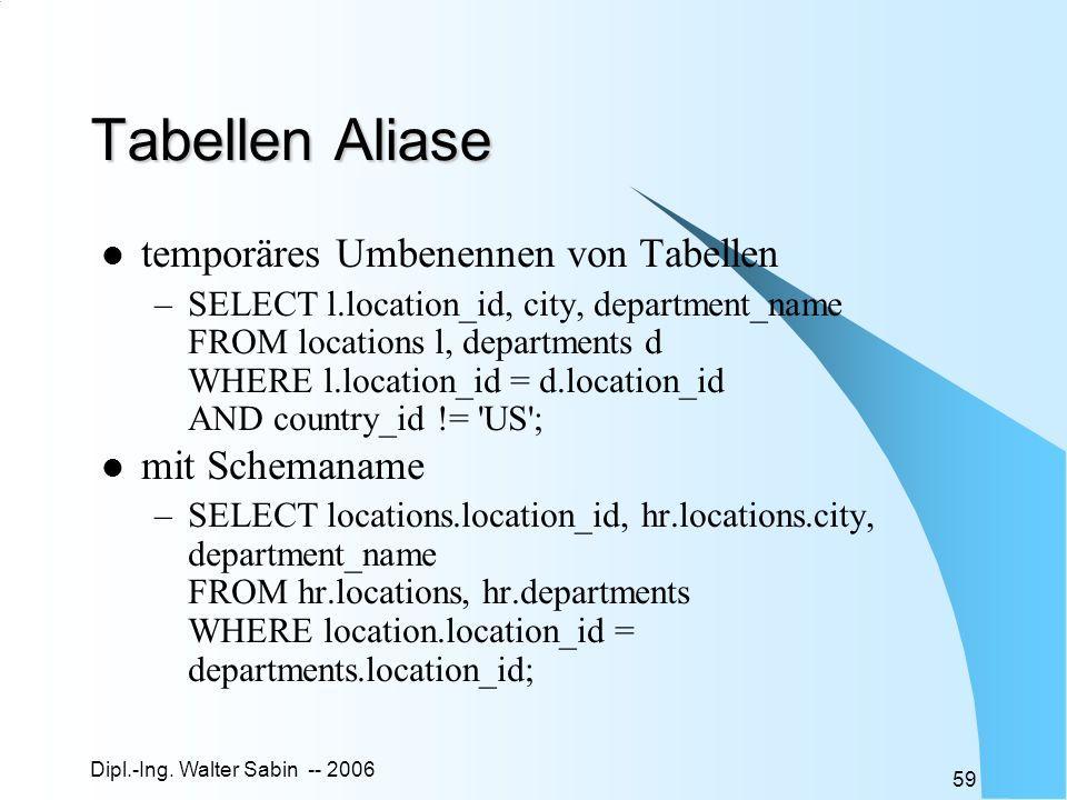Tabellen Aliase temporäres Umbenennen von Tabellen mit Schemaname
