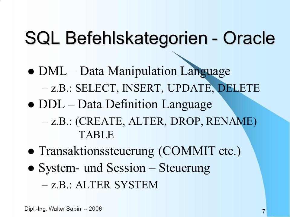 SQL Befehlskategorien - Oracle