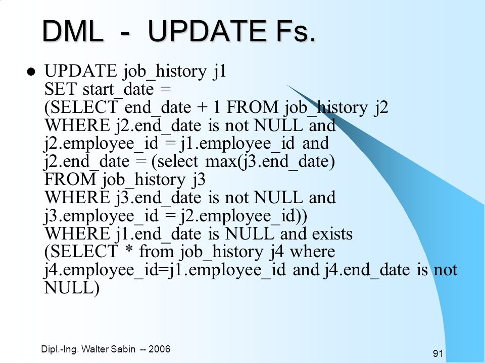 DML - UPDATE Fs.