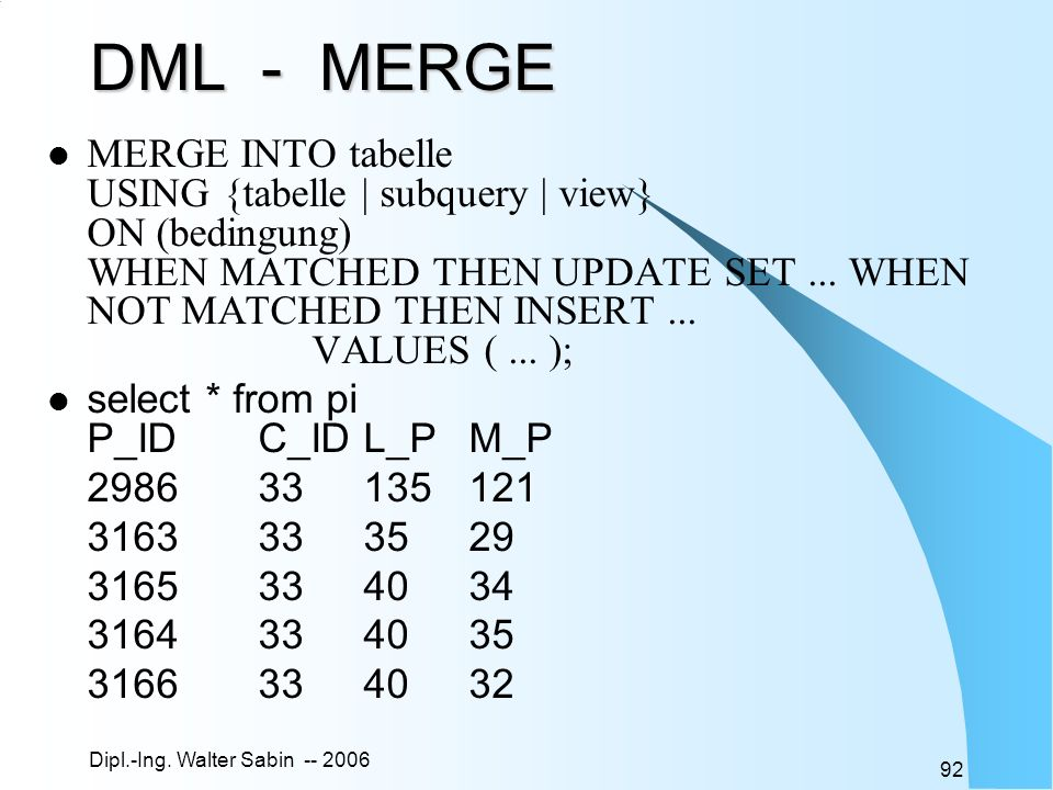 DML - MERGE