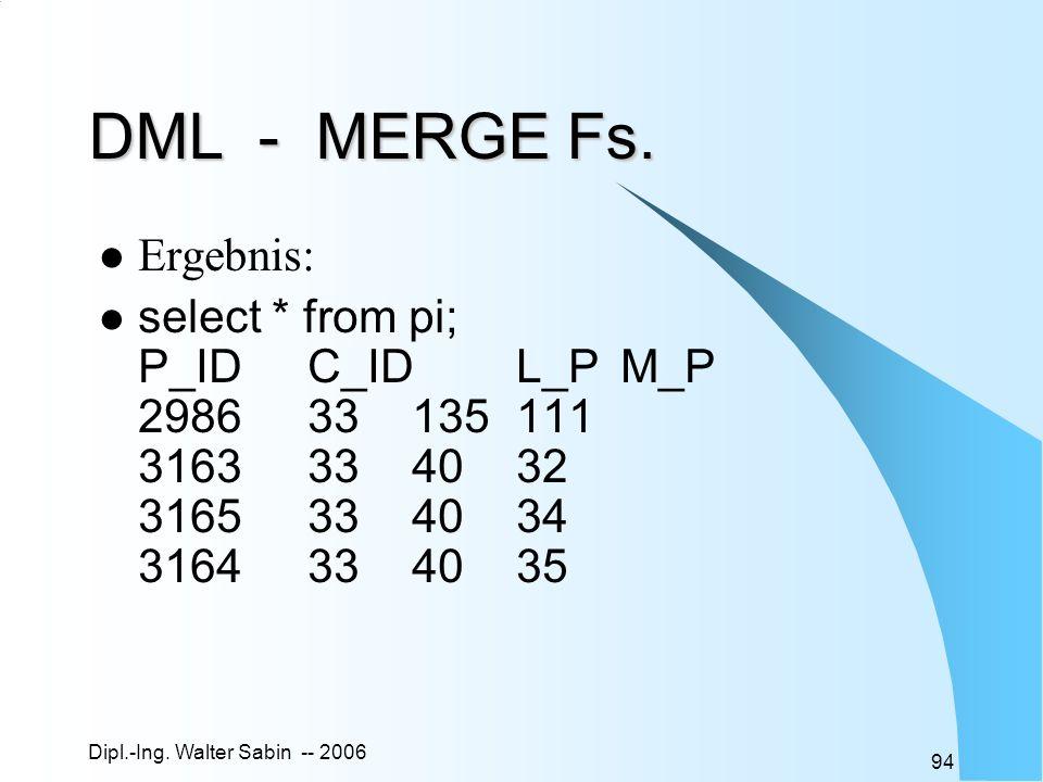 DML - MERGE Fs. Ergebnis: