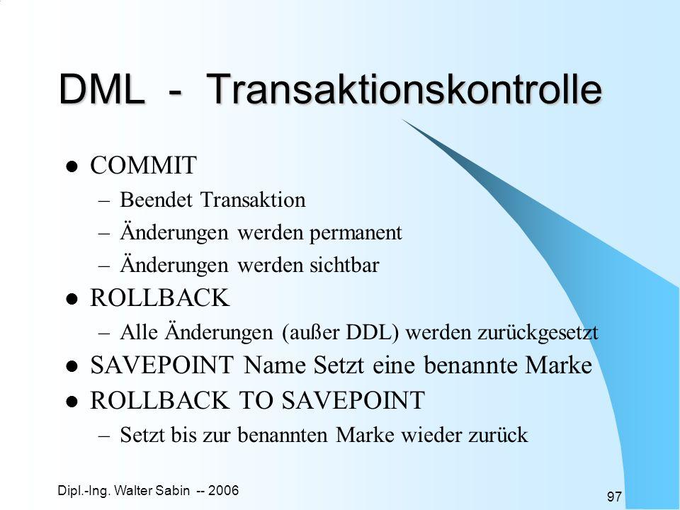 DML - Transaktionskontrolle