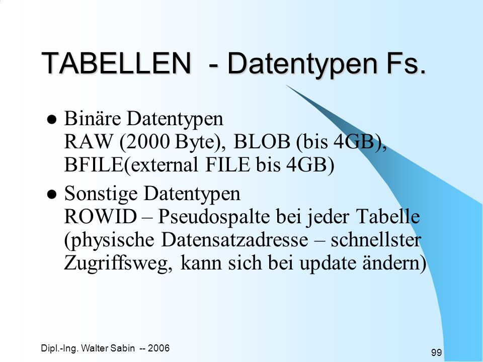 TABELLEN - Datentypen Fs.