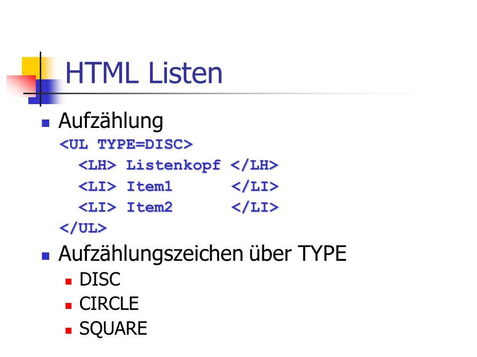 HTML Listen Aufzählung Aufzählungszeichen über TYPE DISC CIRCLE SQUARE