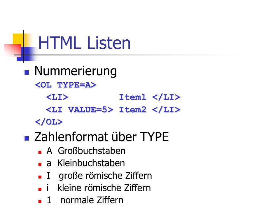 HTML Listen Nummerierung Zahlenformat über TYPE <OL TYPE=A>