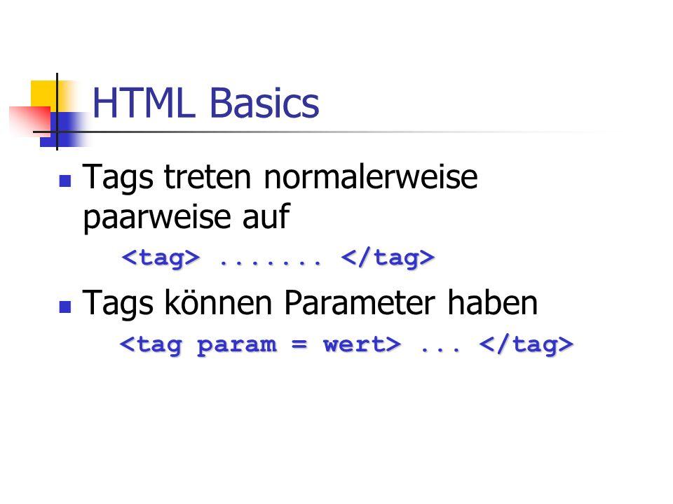 HTML Basics Tags treten normalerweise paarweise auf