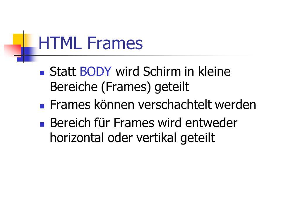 HTML Frames Statt BODY wird Schirm in kleine Bereiche (Frames) geteilt