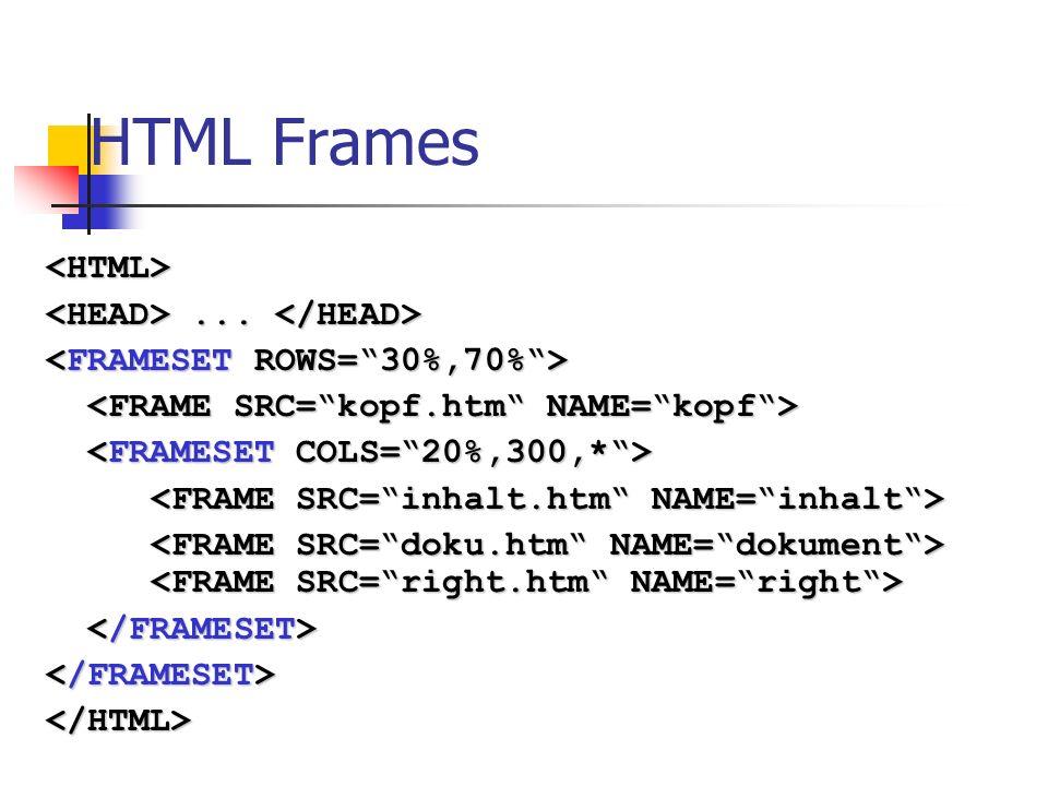 HTML Frames <HTML> <HEAD> ... </HEAD>