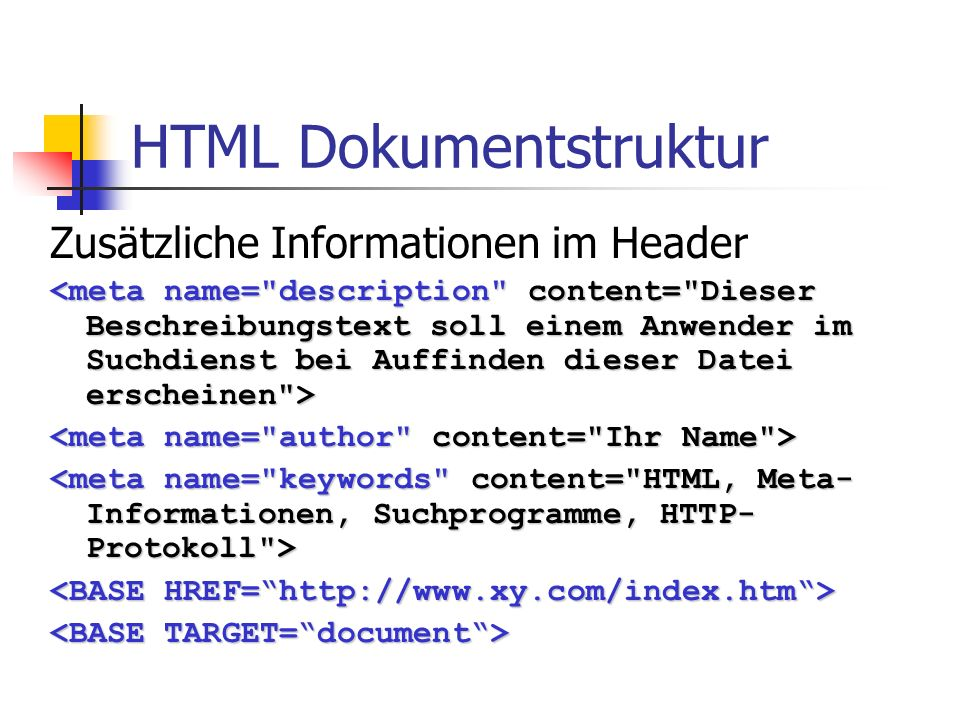 HTML Dokumentstruktur