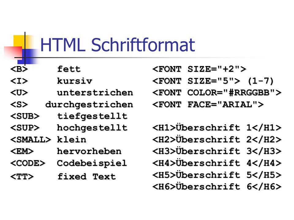 HTML Schriftformat <B> fett <I> kursiv