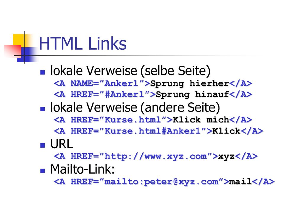 HTML Links lokale Verweise (selbe Seite)