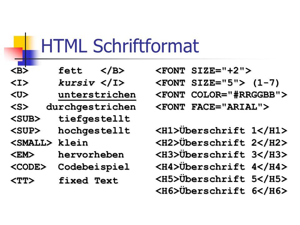 HTML Schriftformat <B> fett </B>