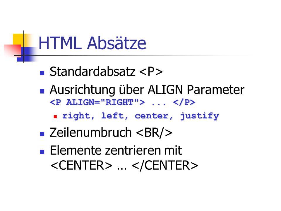 HTML Absätze Standardabsatz <P>