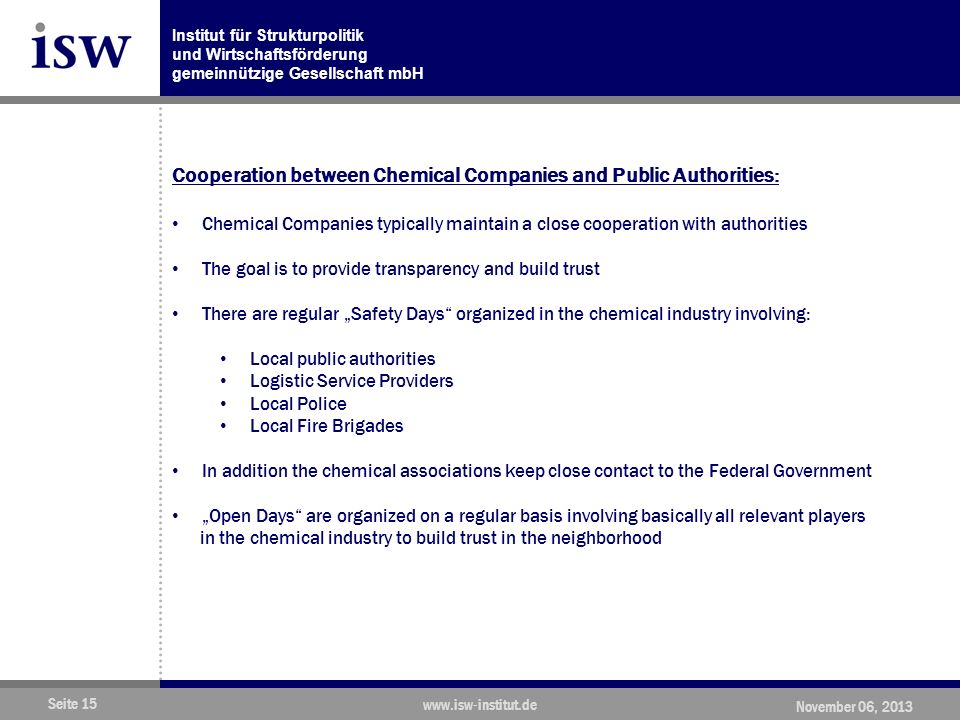 Cooperation between Chemical Companies and Public Authorities: