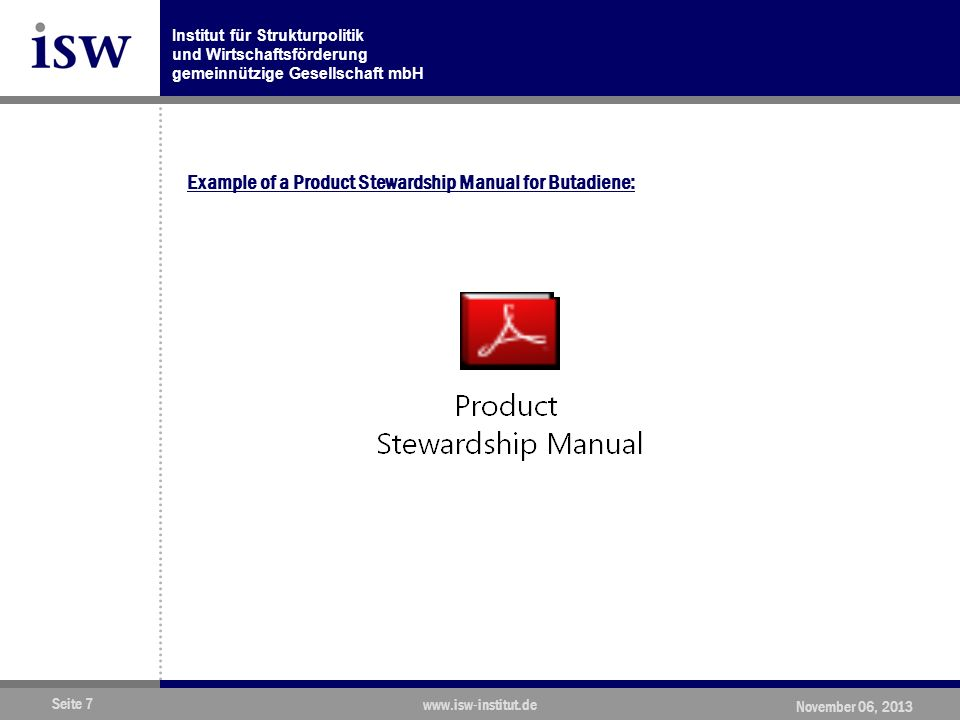 Example of a Product Stewardship Manual for Butadiene:
