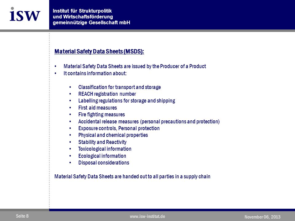 Material Safety Data Sheets (MSDS):