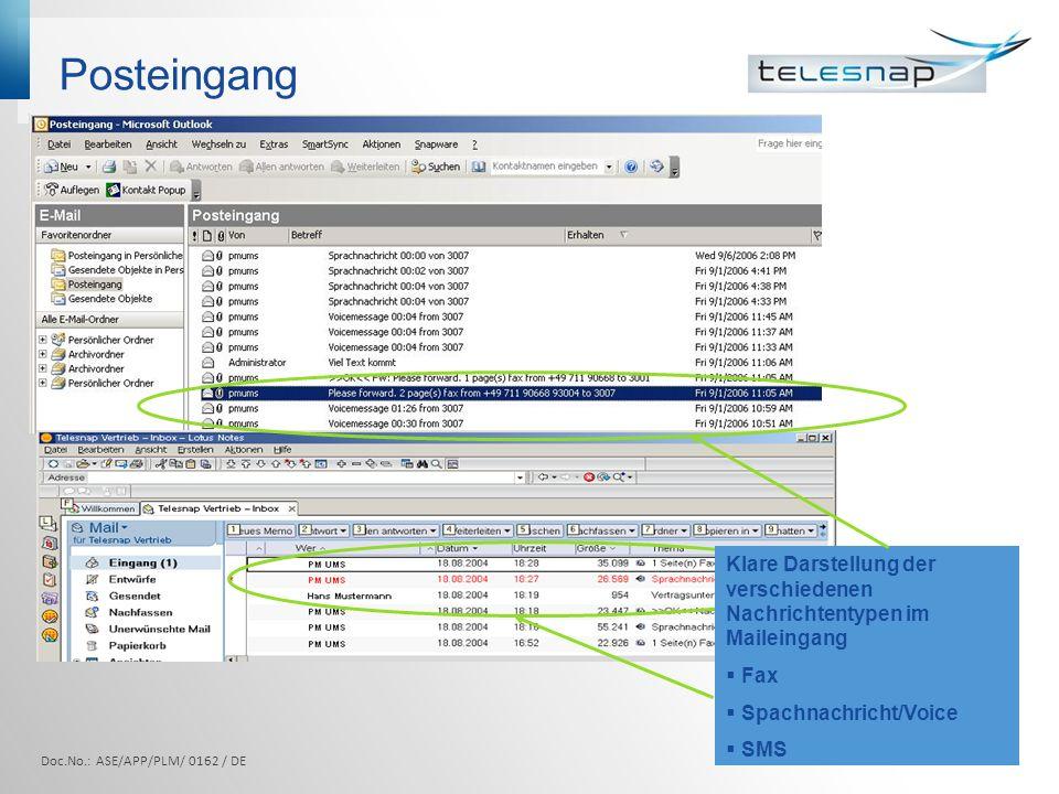 Posteingang Klare Darstellung der verschiedenen Nachrichtentypen im Maileingang. Fax. Spachnachricht/Voice.