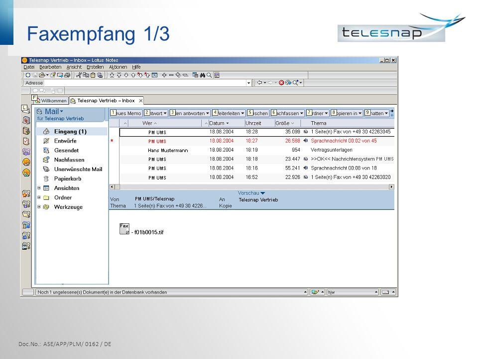 Faxempfang 1/3 Doc.No.: ASE/APP/PLM/ 0162 / DE