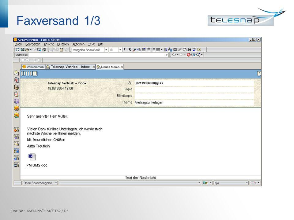 Faxversand 1/3 Doc.No.: ASE/APP/PLM/ 0162 / DE