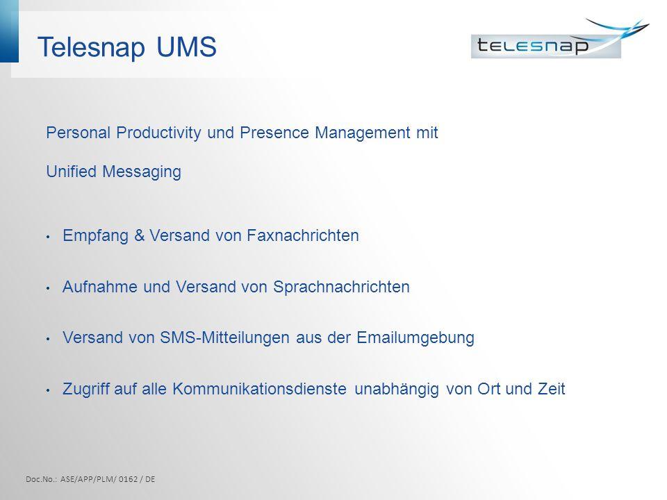 Telesnap UMS Personal Productivity und Presence Management mit