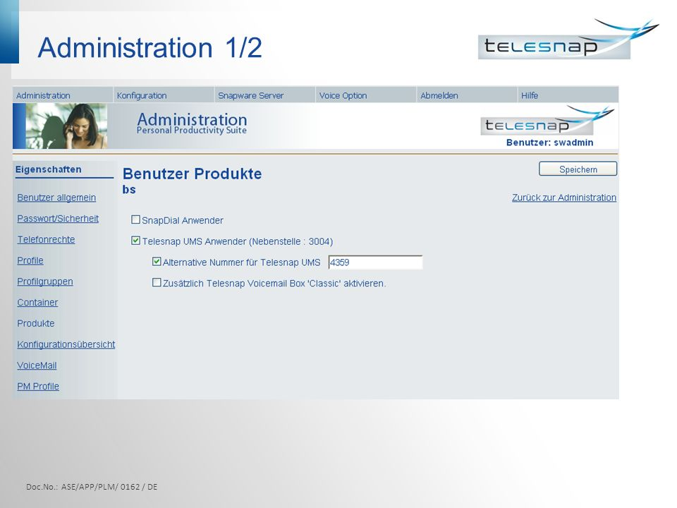 Administration 1/2 Doc.No.: ASE/APP/PLM/ 0162 / DE