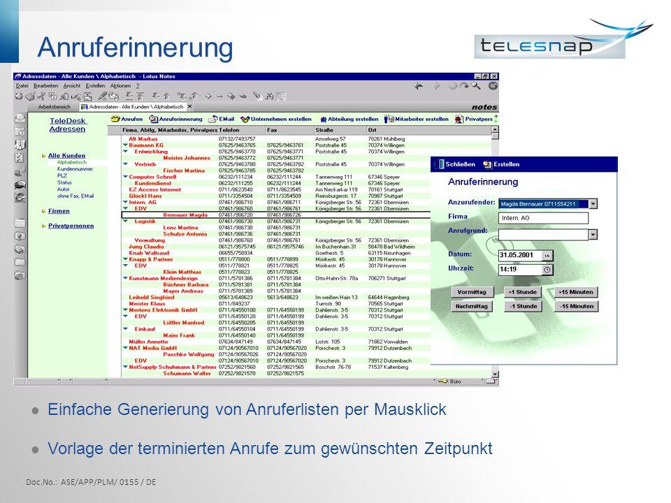 Anruferinnerung Einfache Generierung von Anruferlisten per Mausklick