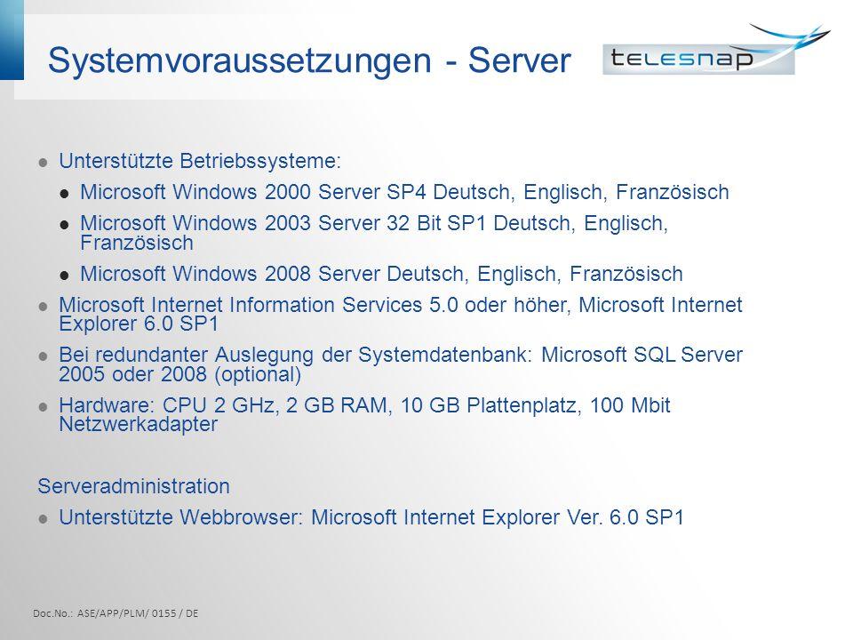 Systemvoraussetzungen - Server
