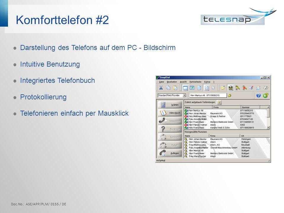 Komforttelefon #2 Darstellung des Telefons auf dem PC - Bildschirm
