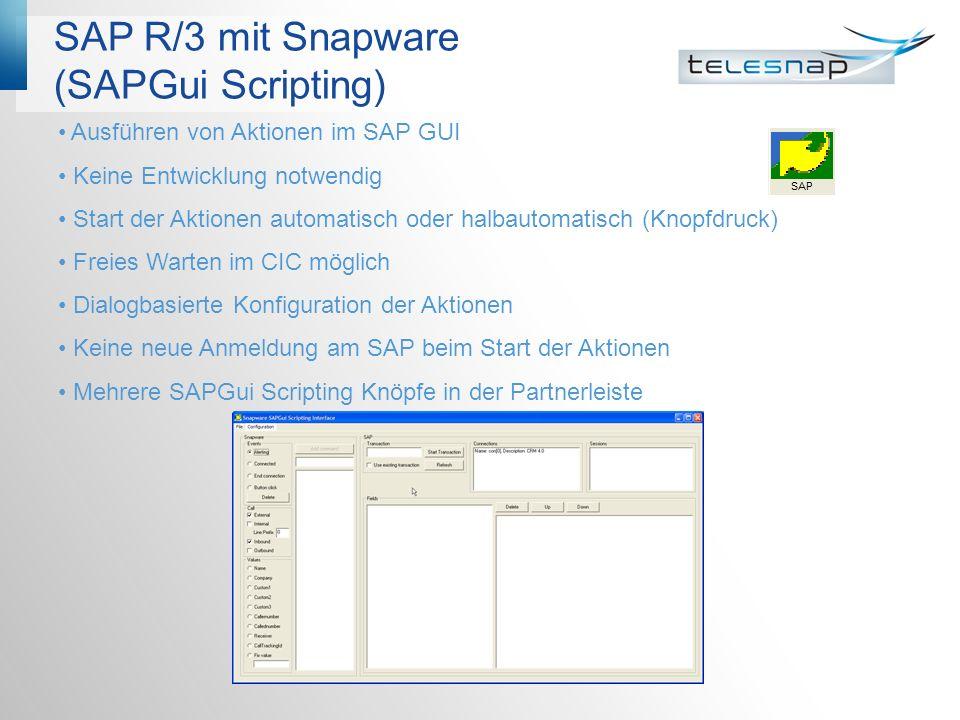 SAP R/3 mit Snapware (SAPGui Scripting)