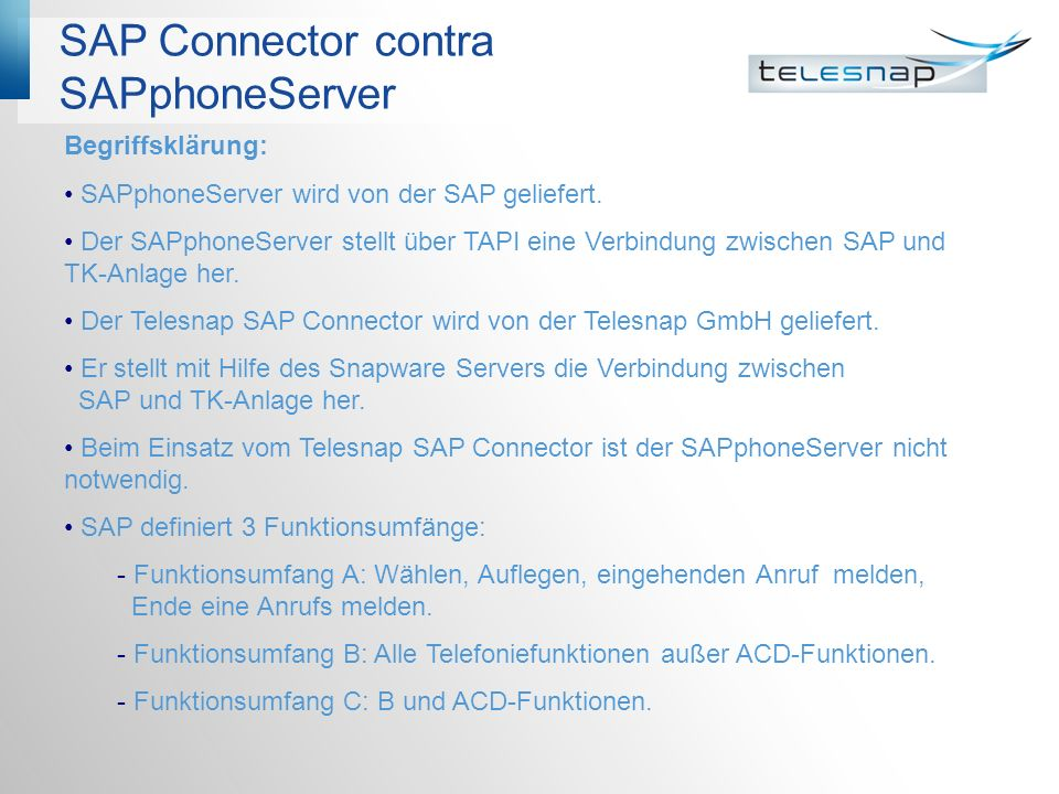 SAP Connector contra SAPphoneServer