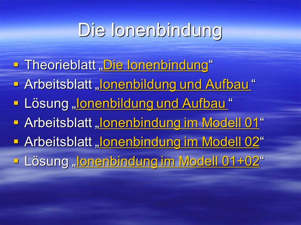 """Die Ionenbindung Theorieblatt """"Die Ionenbindung"""