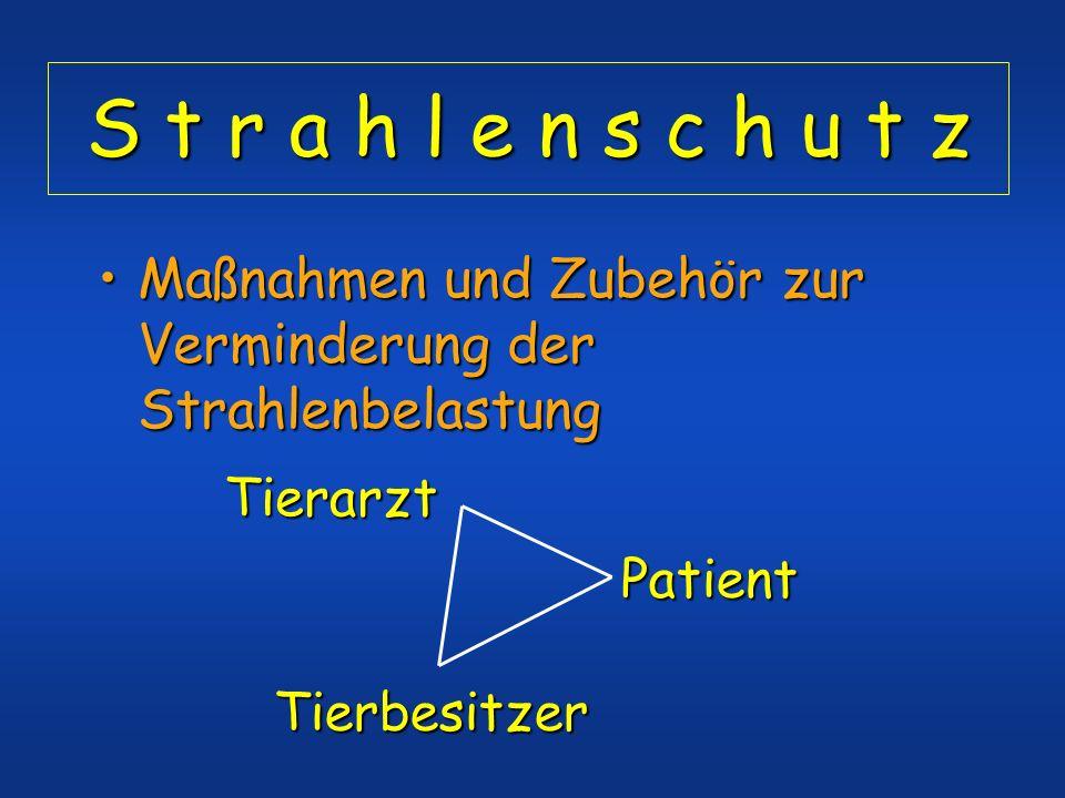 S t r a h l e n s c h u t z Maßnahmen und Zubehör zur Verminderung der Strahlenbelastung. Tierarzt.