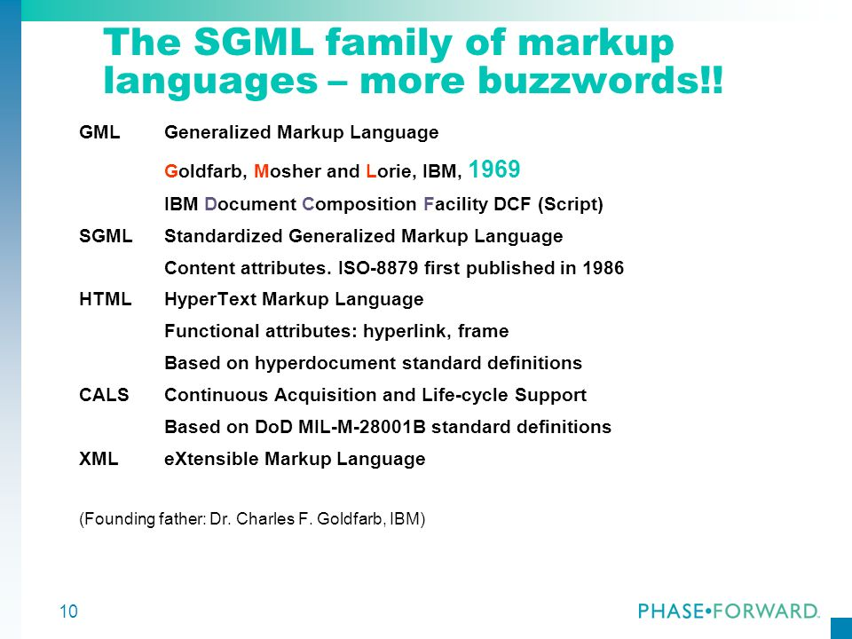 The SGML family of markup languages – more buzzwords!!