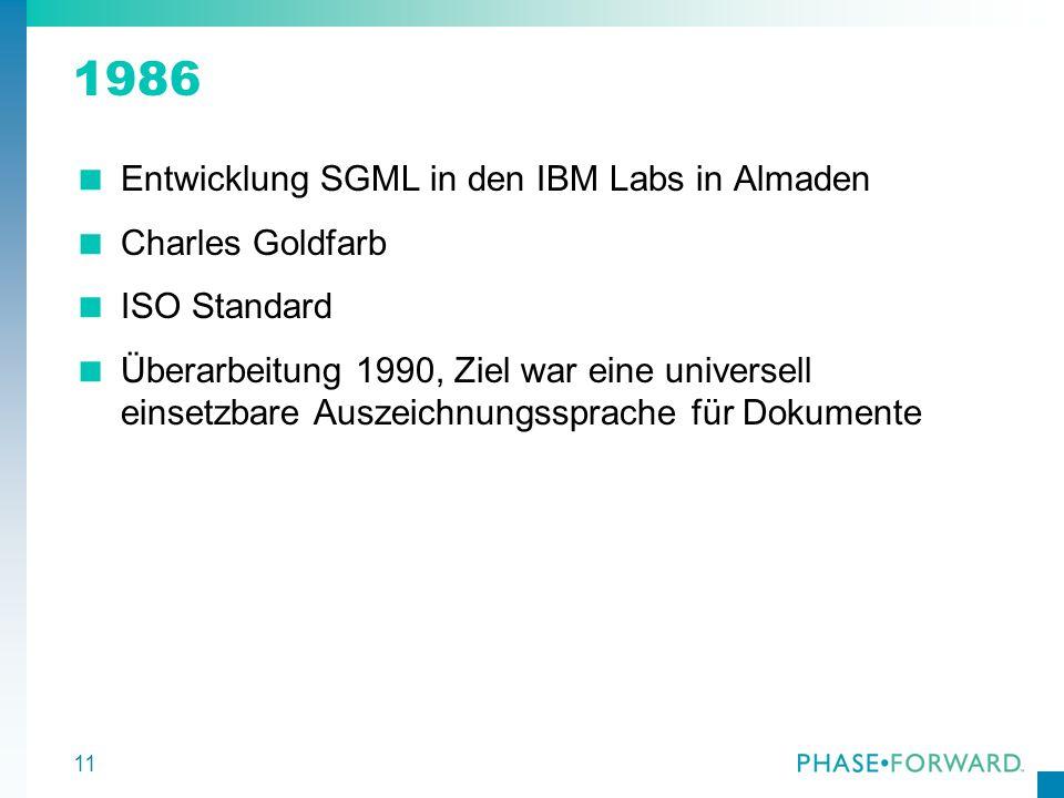 1986 Entwicklung SGML in den IBM Labs in Almaden Charles Goldfarb