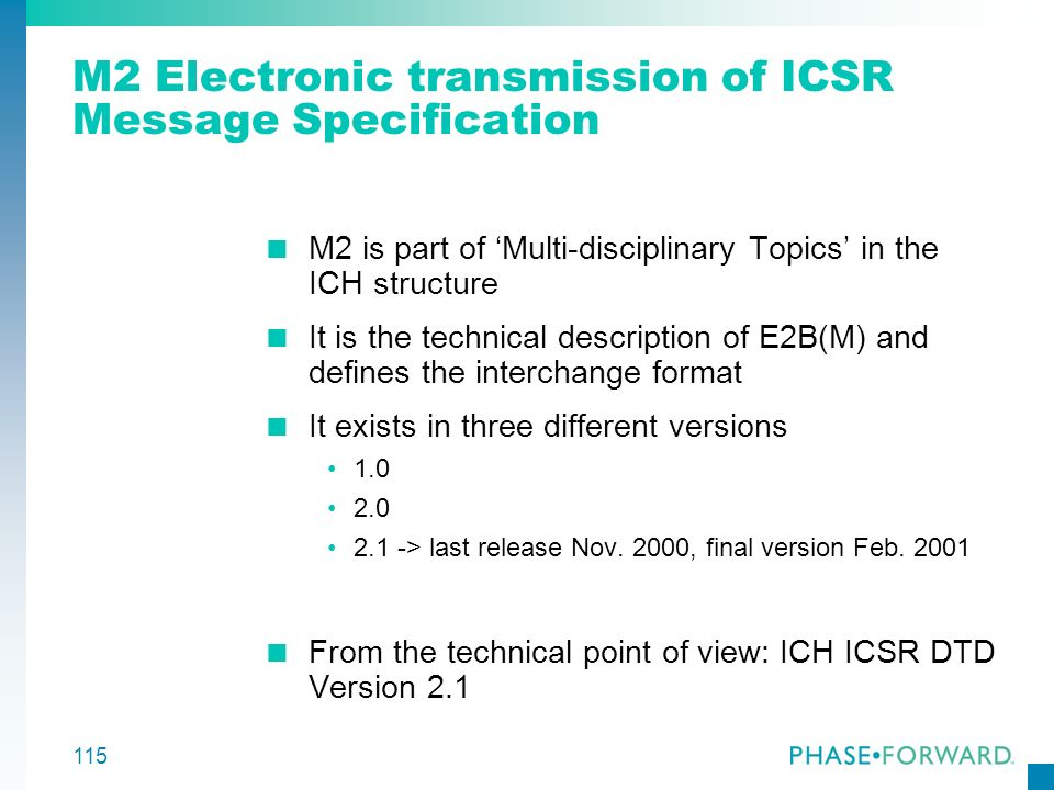 M2 Electronic transmission of ICSR Message Specification