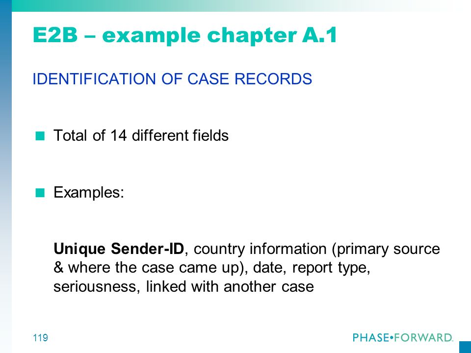 E2B – example chapter A.1 IDENTIFICATION OF CASE RECORDS