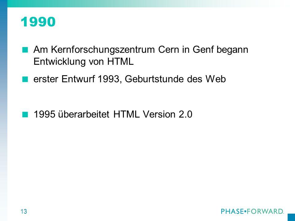 1990 Am Kernforschungszentrum Cern in Genf begann Entwicklung von HTML