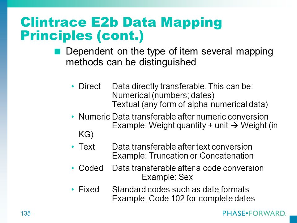 Clintrace E2b Data Mapping Principles (cont.)