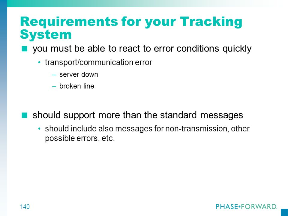 Requirements for your Tracking System
