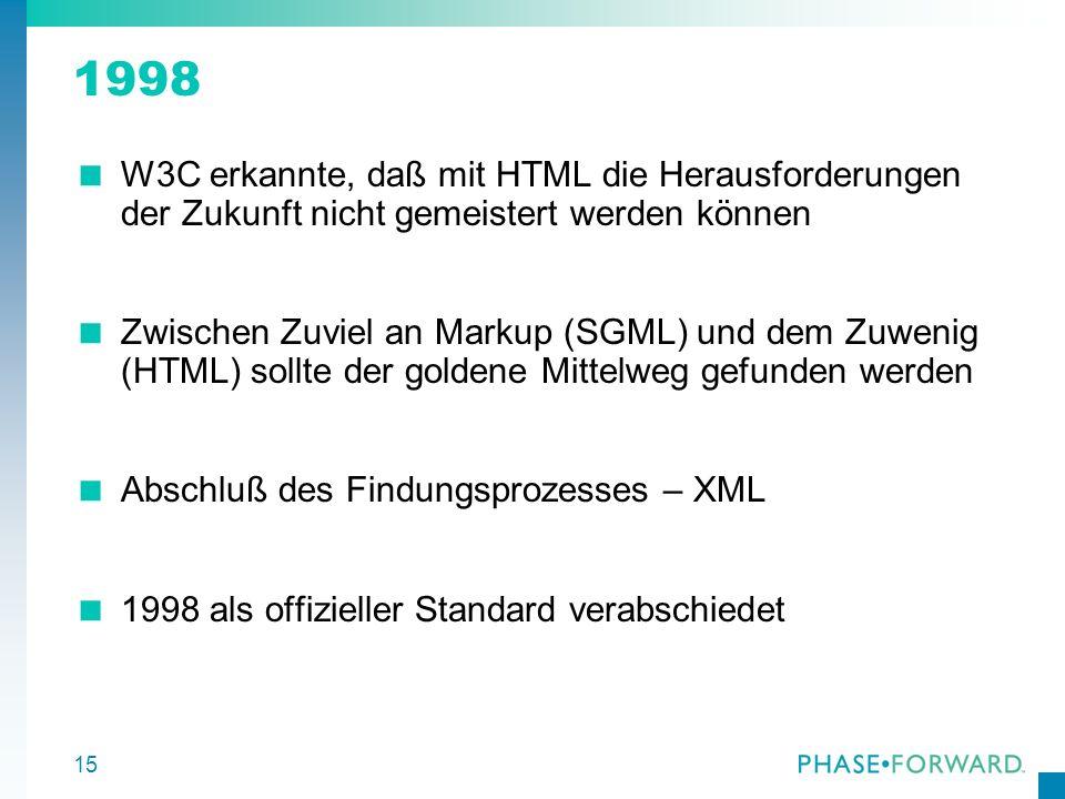 1998 W3C erkannte, daß mit HTML die Herausforderungen der Zukunft nicht gemeistert werden können.