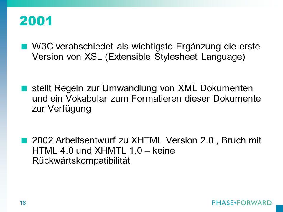 2001 W3C verabschiedet als wichtigste Ergänzung die erste Version von XSL (Extensible Stylesheet Language)