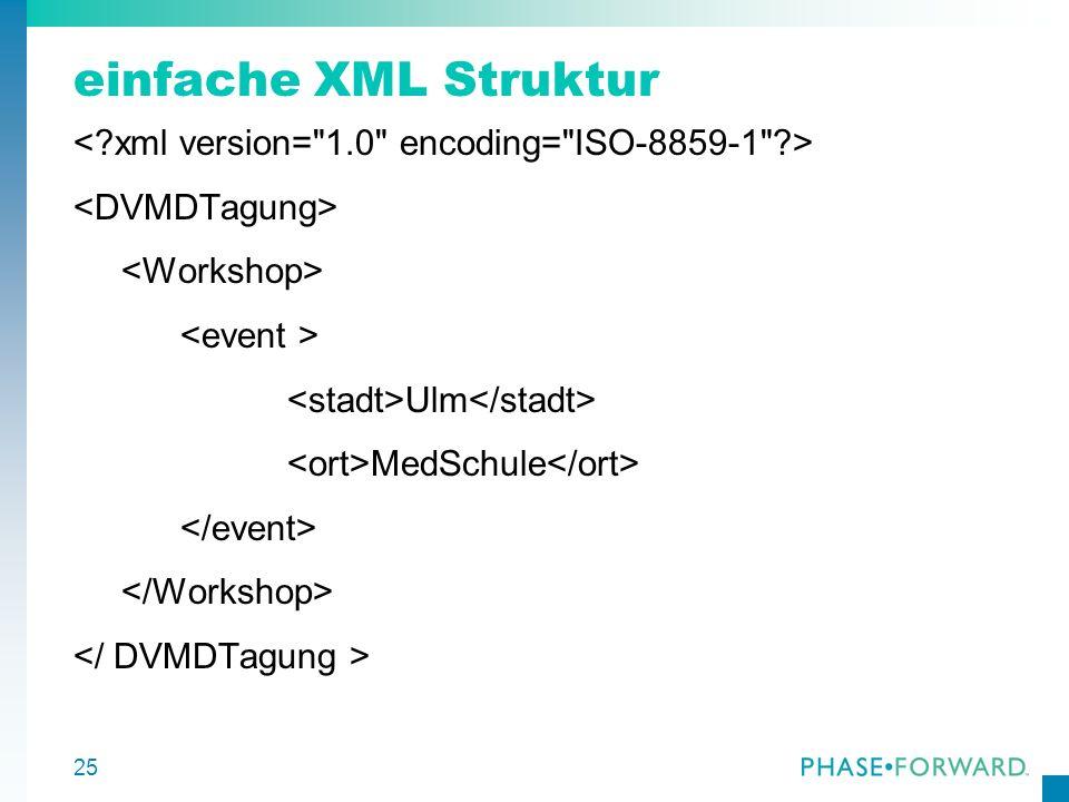 einfache XML Struktur < xml version= 1.0 encoding= ISO-8859-1 > <DVMDTagung> <Workshop> <event >