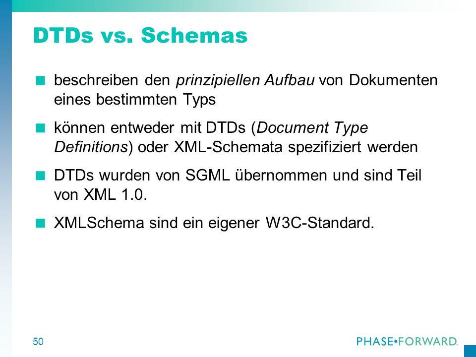 DTDs vs. Schemas beschreiben den prinzipiellen Aufbau von Dokumenten eines bestimmten Typs.